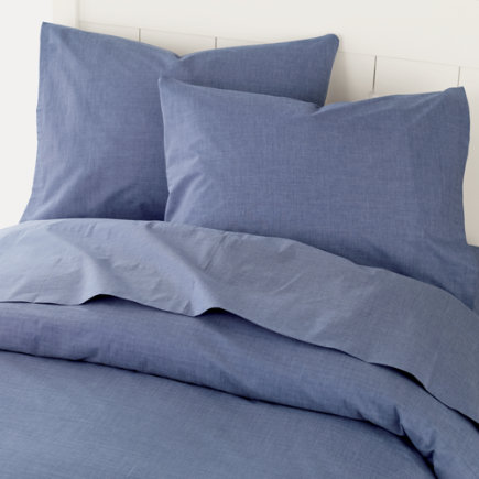 Boys Striped Chambray Sheets - Twin Comforter Cover (Blue Chambray) 88 x 86