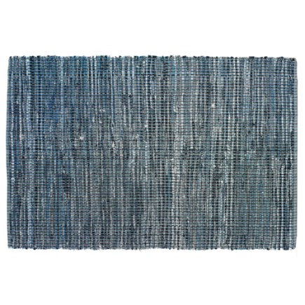 Kids Rugs: Kids Blue Woven Cotton Denim Rag Rug - 4 x 6 Denim Rag Rug