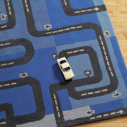 Kids Rugs: Kids Car & Train Transportation Rug - 3 x 5 Map Rug