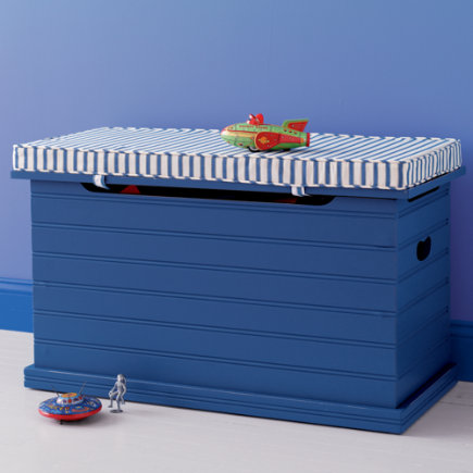 Blue Wooden Beadboard Toy Bin - Toy Chest (Blue) 36 x 16 x 19