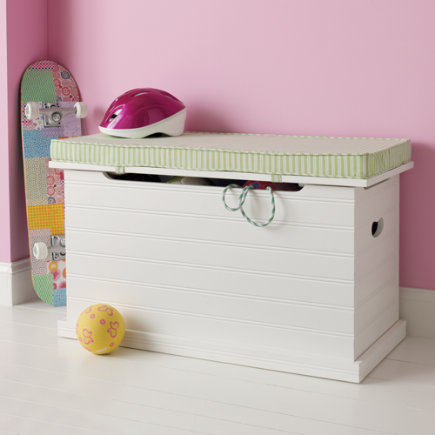 Kids Benches: Kids White Wooden Beadboard Toy Chest - White Beadboard Toy Chest