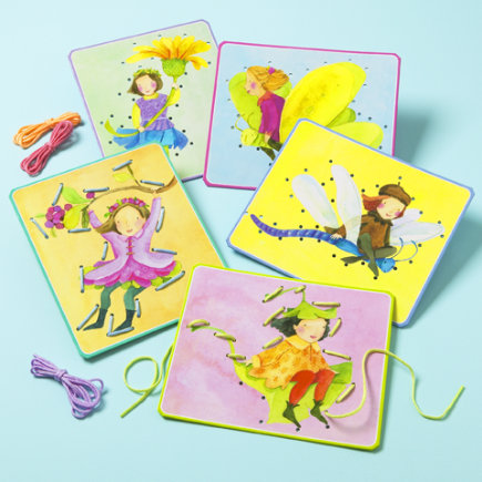 Kids' Arts & Crafts: Kids Fairy Threading Card - Fairies Lacing Cards