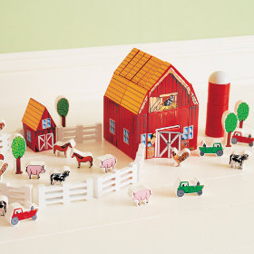 Kids Wooden Barnyard Playset