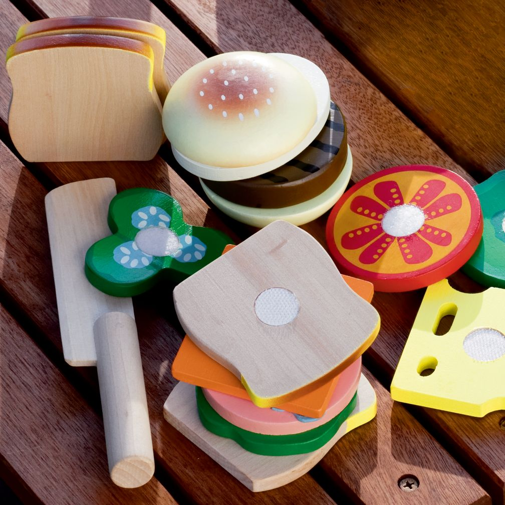Kids Kitchen Grocery Kids Wooden Toy Sandwich Making Set from landofnod.com