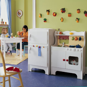 Kids Retro Style Pretend Play Kitchen Set
