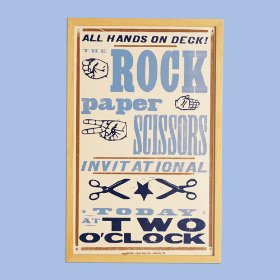 Rock, Paper, Sissors Vintage Style Wall Art Poster
