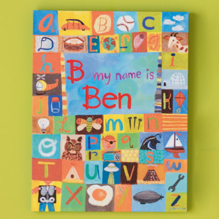 Kids' Personalized Art: Boys' Alphabet Personalized Name Wall Art - Hello My Name is