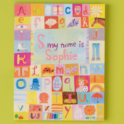 Kids' Personalized Art: Girls' Alphabet Personalized Name Wall Art - Hello My Name is