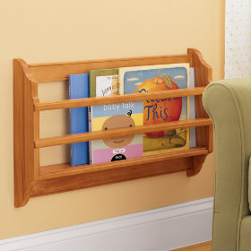 Honey Solid Pine Wood Wall Book Bin