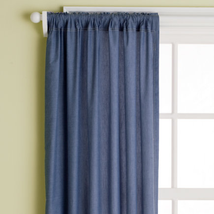 Kids Chambray Curtain Panels - Lined Panel (Blue) 44 x 63h (Sold Individually)