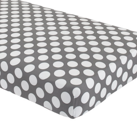 Baby Bedding: Grey Dot Crib Fitted Sheet - Grey with White Dot Crib Fitted Sheet