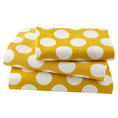 New School Yellow and White Dot Organic Twin Sheet Set