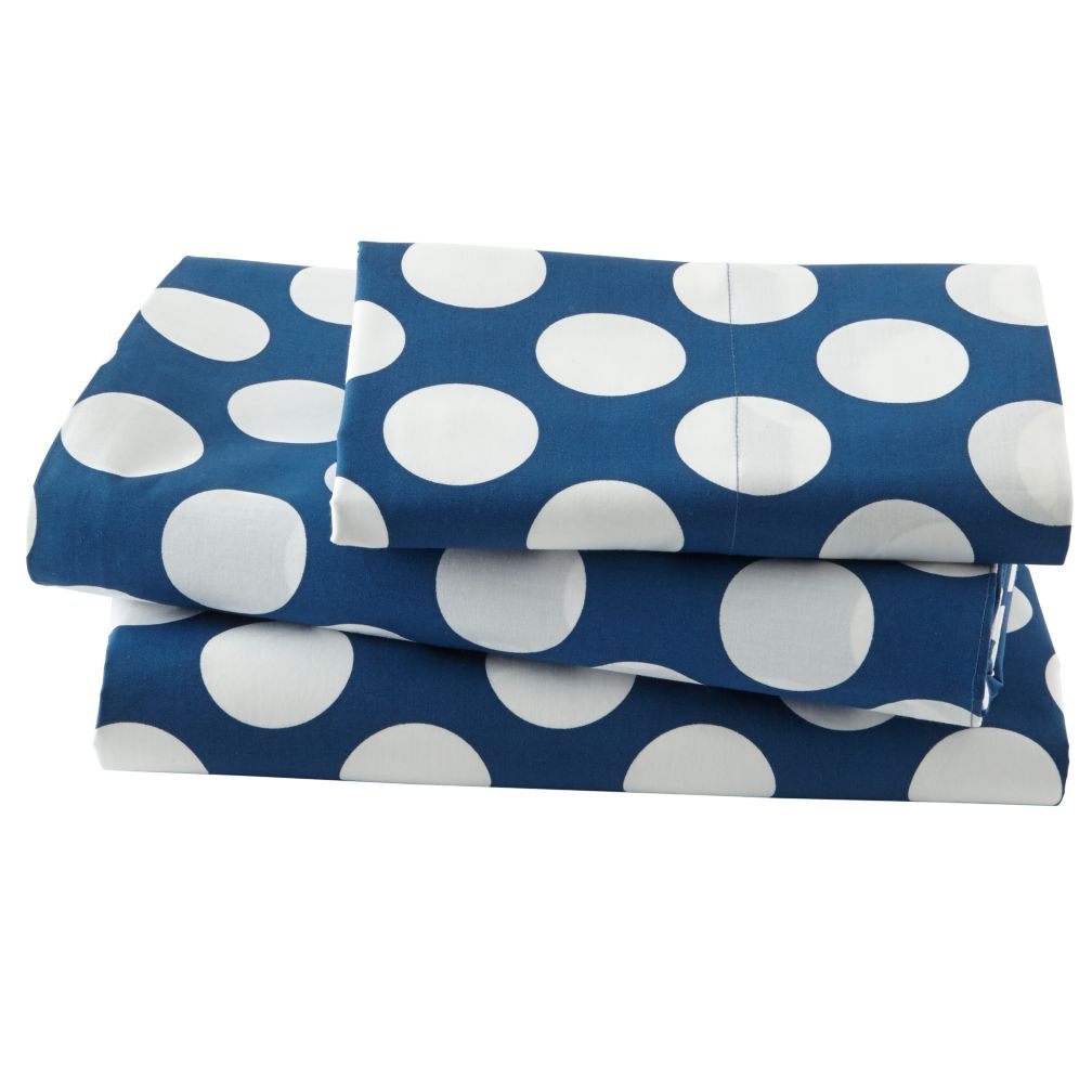 New School Blue w/ White Dot Organic Twin Sheet Set