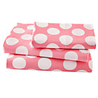 Twin Pink wWhite Dot Sheet SetIncludes fitted sheet, flat sheet and one pillowcase