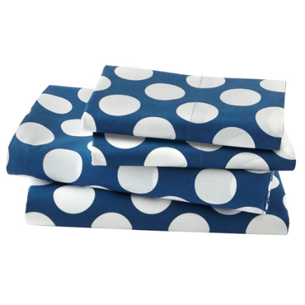 Twin Blue w/White Dot Sheet SetIncludes fitted sheet, flat sheet and one pillowcase