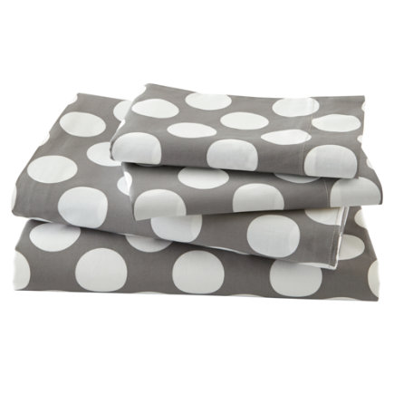 Twin Grey w/White Dot Sheet SetIncludes fitted sheet, flat sheet and one pillowcase