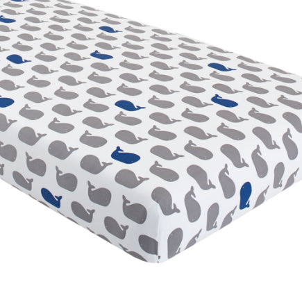 Baby Bedding: Blue Grey Whale Fitted Sheet - Grey & Blue Whale Crib Fitted Sheet