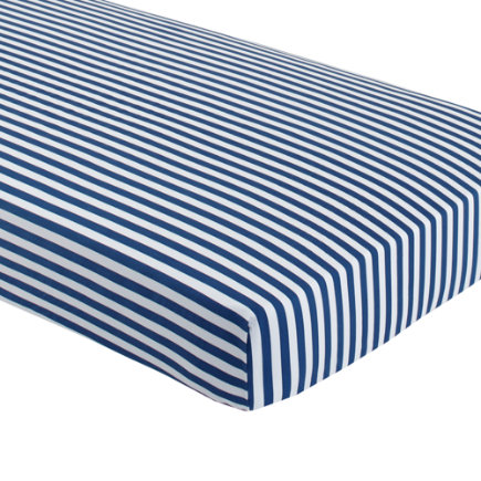 Baby Bedding: Blue Stripe Crib Fitted Sheet - Blue Stripe Crib Fitted Sheet
