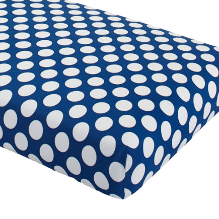 Baby Bedding: Blue Dot Crib Fitted Sheet - Blue with White Dot Crib Fitted Sheet