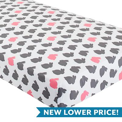 Hop to It Crib Fitted Sheet (Pink Bunny)