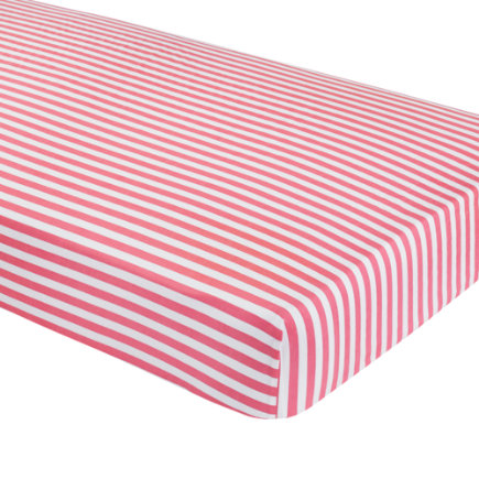 Baby Bedding: Pink Pink Stripe Fitted Sheet - Pink Stripe Crib Fitted Sheet