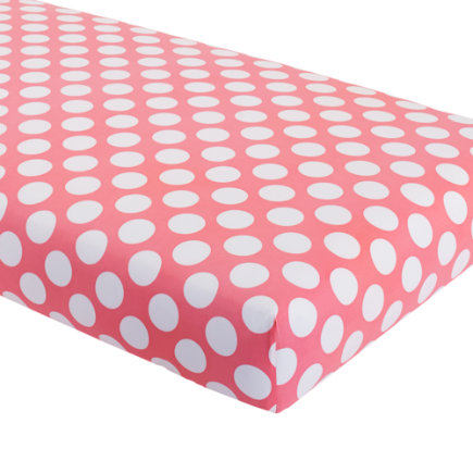 Baby Bedding: Grey Pink Pink Dot Fitted Sheet - Pink with White Dot Crib Fitted Sheet