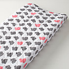 Pink & Grey Bunny Changing Pad Cover