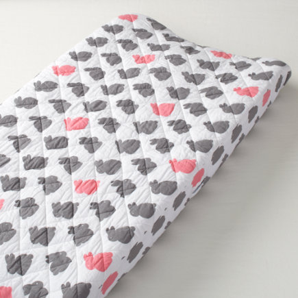 Baby Bedding: Grey Pink Bunny Changing Pad Cover - Pink & Grey Bunny Changing Pad Cover