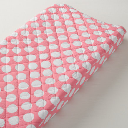 Baby Bedding: Pink Dot Changing Pad Cover - Pink & White Dot Changing Pad Cover