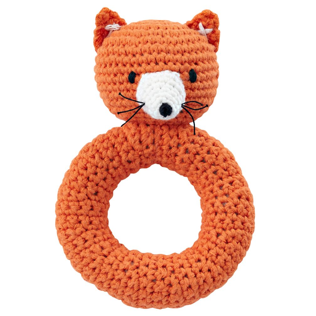 Fox Animal Knit Rattle