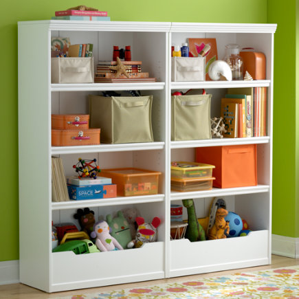Kids Bookcases White Flat Top With Adjule Shelves Bookcase