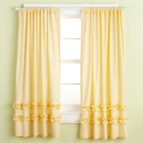Ruffle Curtain Panels (Yellow)