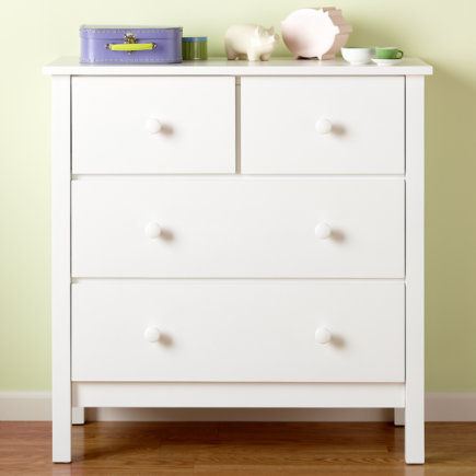 Kids Dressers: Kids 2-over-2 Drawer White Simple Dresser - White 2-over-2 Dresser