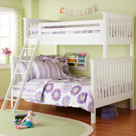 Kids' Bunk Beds: Kids Twin-Over-Full White Simple Plank Bunk Bed - Twin-Over-Full Bunk Bed (White)<br />