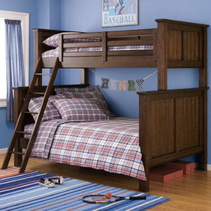 Kids' Bunk Beds: Kids Twin-Over-Full Stained Chocolate Brown Beadboard Bunk Bed - Twin-Over-Full Bunk (Chocolate)