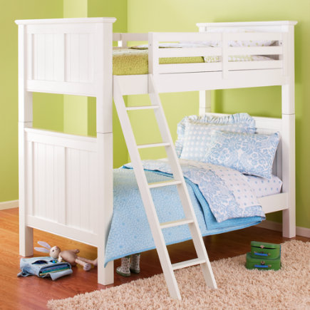 Kids' Bunk Beds: Kids Twin White Painted Beadboard Bunk Bed - Twin Bunk (White)