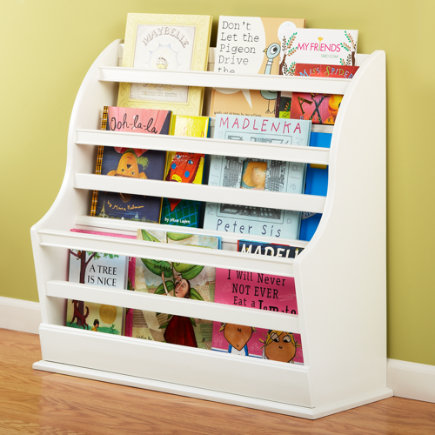 Kids White Bookcase - Floor Book Bin (White) 31