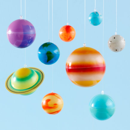 Kids Banners & Hanging Decor: Kids Colorful Hanging Glow in the Dark Solar System Kit - Hang Up Solar System1-4