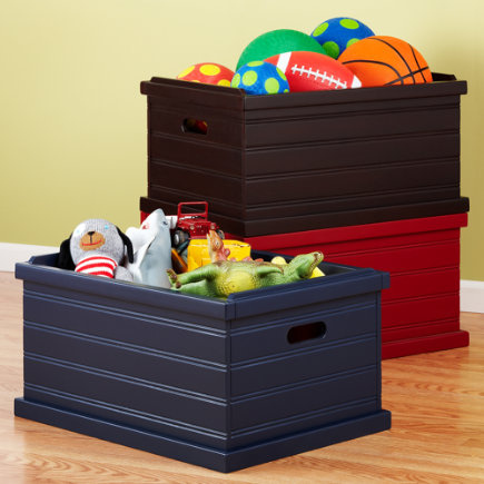 Kids Toy Boxes: Kids Stackable Beadboard Toy Boxes - Midnight Blue Storage Box<br />