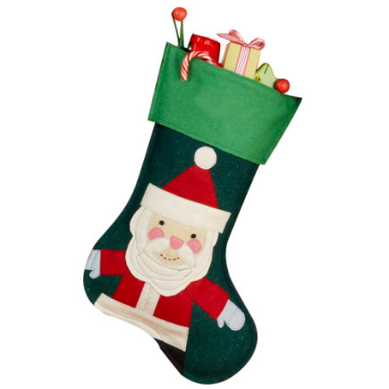 Kids Holiday Decor: Kids Personalized Felt Santa Christmas Stocking - Dk