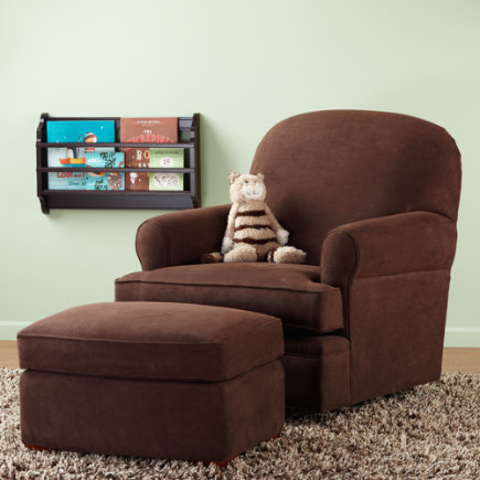 Nursery Gliders: Brown Chocolate Swivel Glider Chair and Ottoman - Dylan Swivel Glider