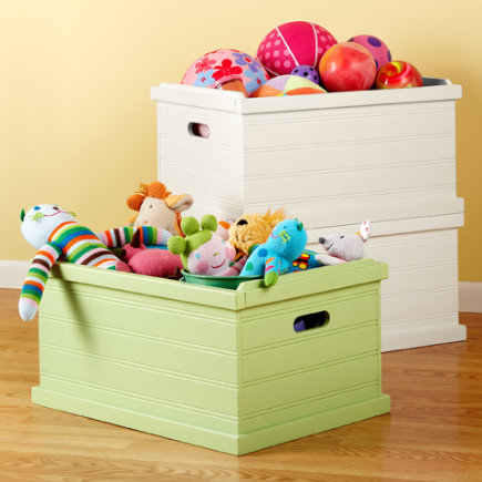 Kids Toy Boxes: Kids Stackable Pastel Beadboard Toy Boxes - Spring Green Storage Box<br />