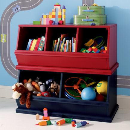 Kids Toy Boxes: Kids Wooden Primary Stacking Storage 2 and 3 Bin - Espresso 2-Bin Palooza