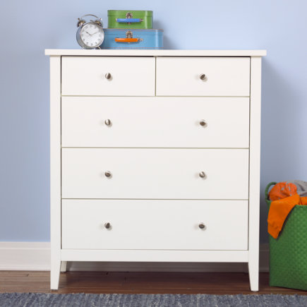 Kids White 2 Over 3 Drawer Dresser - White 2-Over-3 Blake Dresser