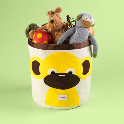 Kids Storage Bins: Childrens Monkey Collapsable Storage Bin - Monkey Organic Storage Bin