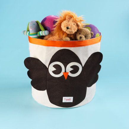 Kids Storage Bins: Childrens Owl Collapsable Storage Bin - Owl Organic Storage Bin