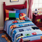 Kids Train Embroidered Blue Quilt Boy Bedding