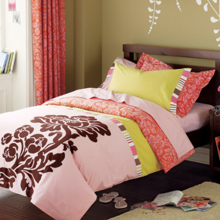 Kids Bedding: Girls  - Pink Brown Floral Bohemian Bedding - Twin Bohemian Floral Comforter Cover