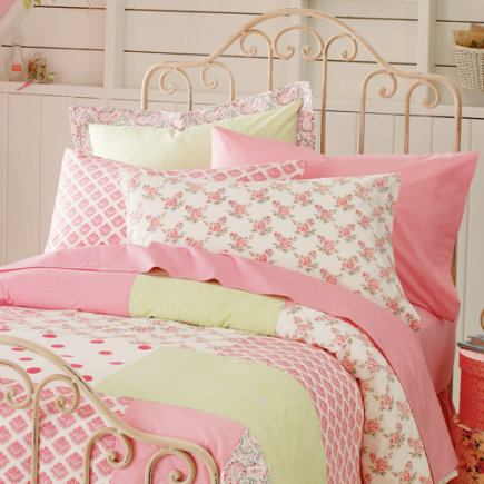 Pink Patch Percale Bedding