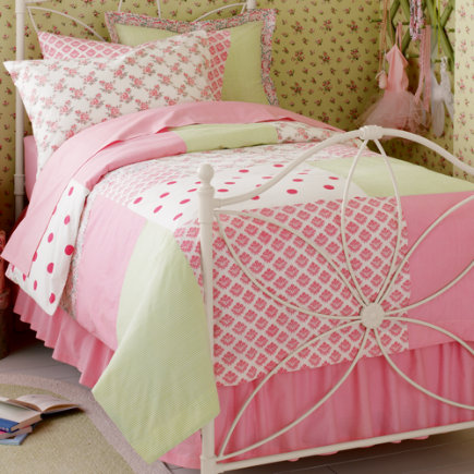 Pink Patch Percale Bedding - Twin Comforter Cover (Patch Percale) 68 x 88